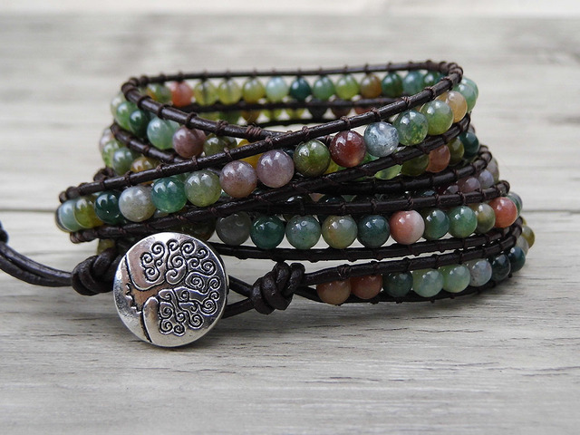 Boho Wrap Bracelet Leather India Bead Green Beads Jewelry Natural Stone