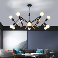 LED Sputnik chandelier Kitchen Bedroom Restaurant sarfatti spider chandelier Wood iLoft ndustrial luminaires Pendant Lamp