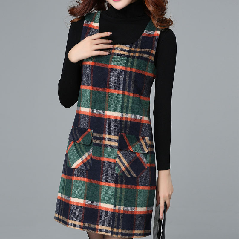 Women\'s Dresses Winter Women\'s Plaid Vest Plus Size Dress Primer Slim  Sleeveless Wool Vest Dresses Female Grid Sundress
