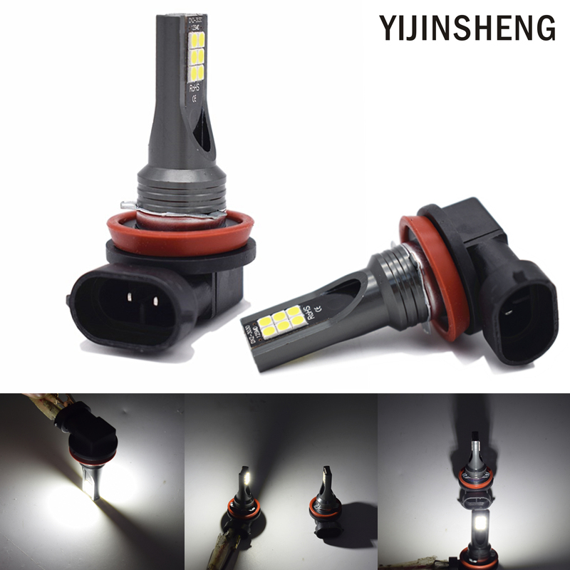 YIJINSHENG 2Pcs H11 H8 HB4 9006 HB3 9005 Led Fog Lights Car Driving Daytime Running Lamp Auto Bulb 12V 6000K White 2pcs 12v 24v h8 h11 led hb4 9006 hb3 9005 fog lights bulb 1200lm 6000k white car driving daytime running lamp auto leds light