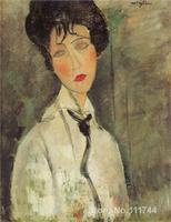 Canvas Art On Sale Woman With A Black Tie Amedeo Modigliani Handmade Oil Painting High Quality