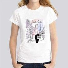Vintage Vogue Paris Black printing Girl summer novelty casual Tops hipster cool ladies  tshirt women Short Sleeves