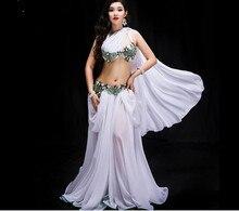 Женский костюм для соревнований по танцу, комплект из 3 х предметов, одежда для восточных танцев и представлений, блестящая юбка макси с блестками, красного и белого цвета