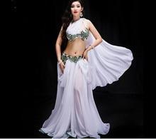 Nowych kobiet taniec konkurs kostium 3 sztuka zestaw orientalne spektakl taneczny pokaż zużycie Bling Bling Max spódnica czerwony biały