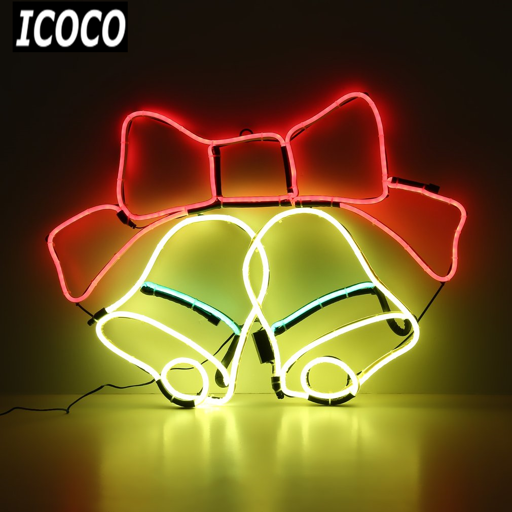 ICOCO Neon Sign Night Light Bells Shaped Design for Room Wall Decorations Home Love Ornament Coffee Bar Mural Crafts Drop Ship corona parrot palm tree extra neon light sign real glass tube handcraft custom logo neon bulbs recreation room wall sign vd19x15