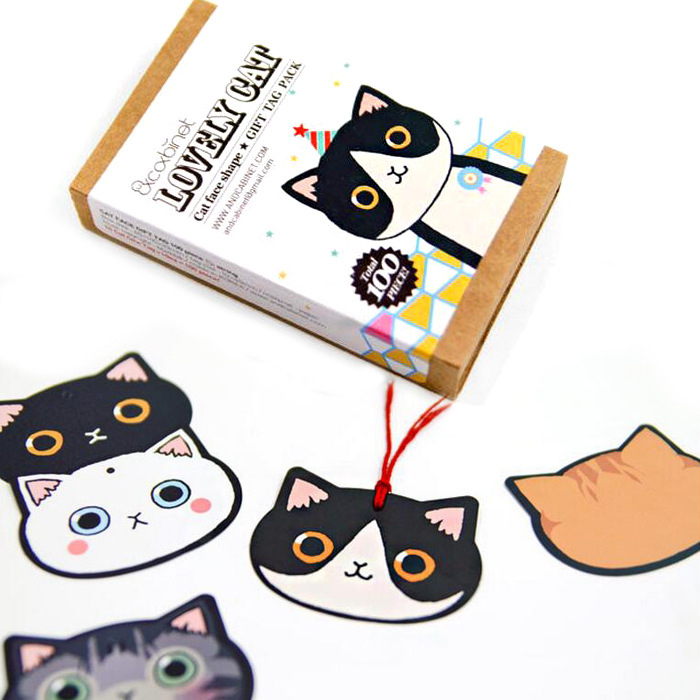 100pcs/set Lovely Cartoon Cat Paper Bookmark Creative Cat Face Shape Book Marks Stationery Items Book Clip Gift Tag Pack
