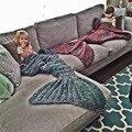 Nueva Manta de Punto Caliente Sirena de Cola de Pescado Princesa de Adultos Niños Sofá Handmake de Ganchillo Wrap Saco de dormir Otoño Suave ropa de Cama de 62558