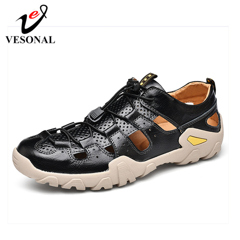 VESONAL Summer Genuine Leather Hollow Non-slip Outdoor Hiking Shoes Men Casual Sandals Breathable Fashion Comfortable Sandals Pakistan