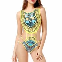 African Bikini Women One Piece Swimwear 2018 Sexy Bandage Bathing Suit Retro Print Swimsuit High Waist