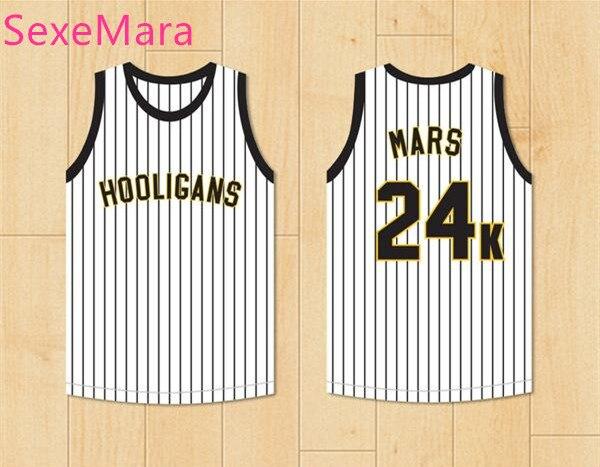 SexeMara Bruno Mars 24K Hooligans XXIV White Pinstriped Basketball Jersey BET Awards Double Stitched