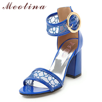 Meotina High Heels Women Sandals Sexy Square Heels Ankle Strap Shoes Buckle Cutout Party Sandals Summer Gold Large Size 33 46 10