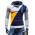 2016 New Autumn Winter Mens Casual Colors Patchwork Hooded Fleece Plus Size