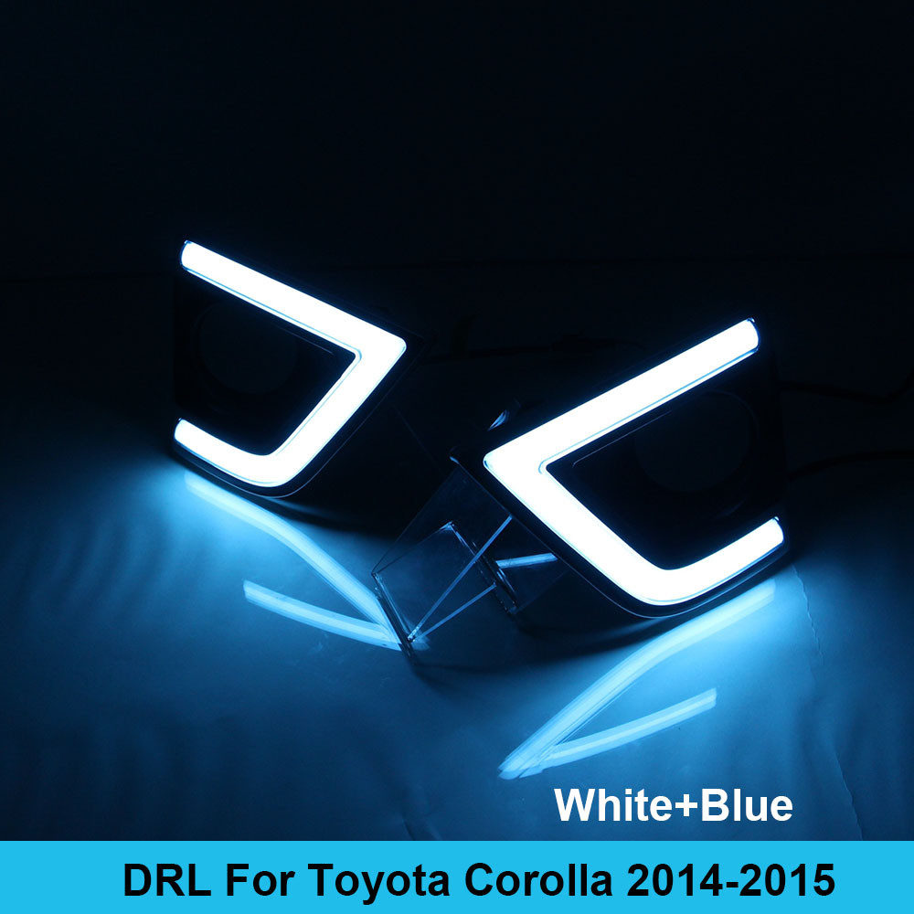 New Car DRL kit for Toyota Corolla 2014 2015 Daytime Running Light Bar turn signal fog lamp bulb daylight car led drl light 12v one stop shopping for k2 drl 2014 2015 new rio led drl k2 daytime running light fog lamp automotive accessories