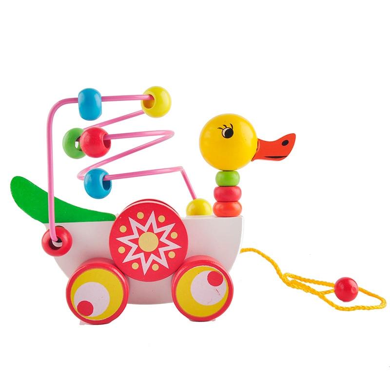 Oktatási kiskacsa pótkocsi játék mini körül gyöngyök tanulási játék többszínű gyerekek gyerekek puzzle baba csecsemő fa játékok