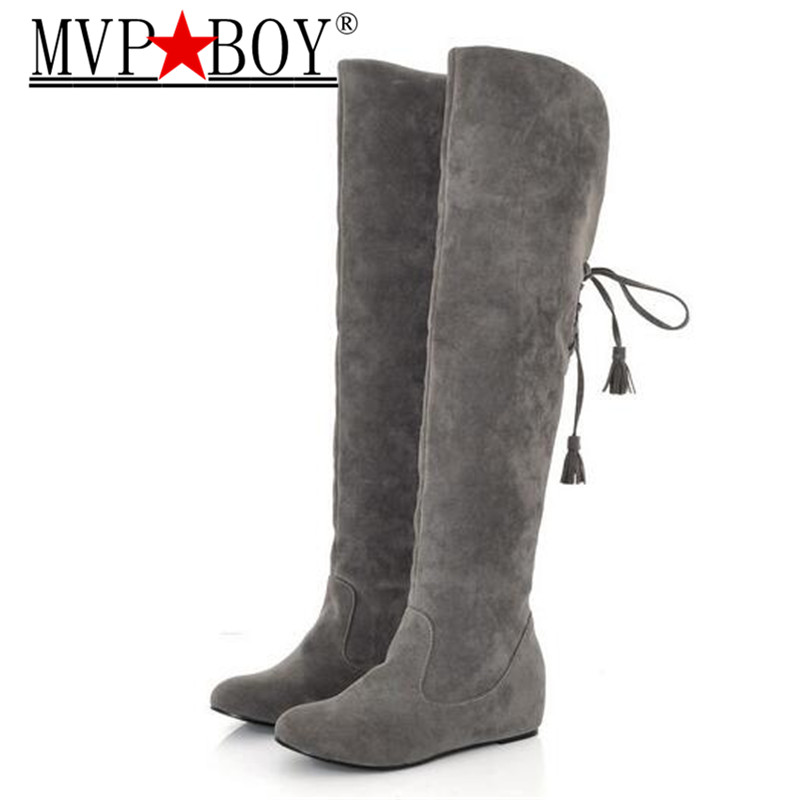 c027223e936 MVP BOY Womens Boots Faux Suede Over the Knee Flat Warm Boots Comfortable  Thigh High Boots Lace-up Woman Winter Shoes black gray