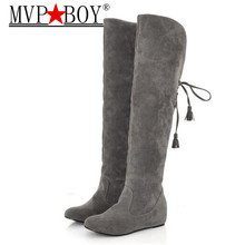 MVP BOY Womens Boots Faux Suede Over the Knee Flat Warm Boots Comfortable Thigh High Boots Lace-up Woman Winter Shoes black gray