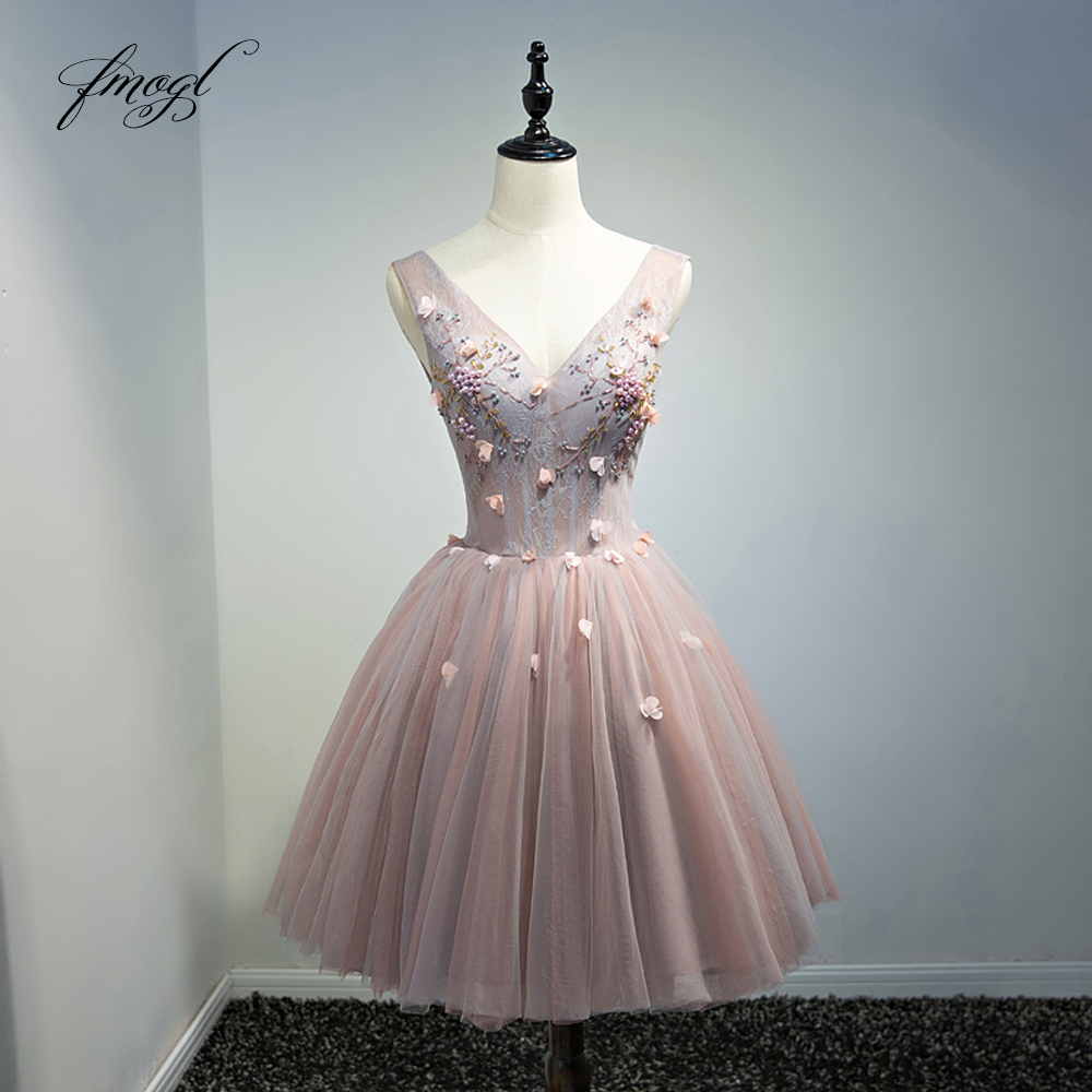 Fmogl Elegant V Neck Flowers Knee Length   Cocktail     Dresses   2019 Beading Pearls Special Occasion   Dress   Short   Dress   For Party