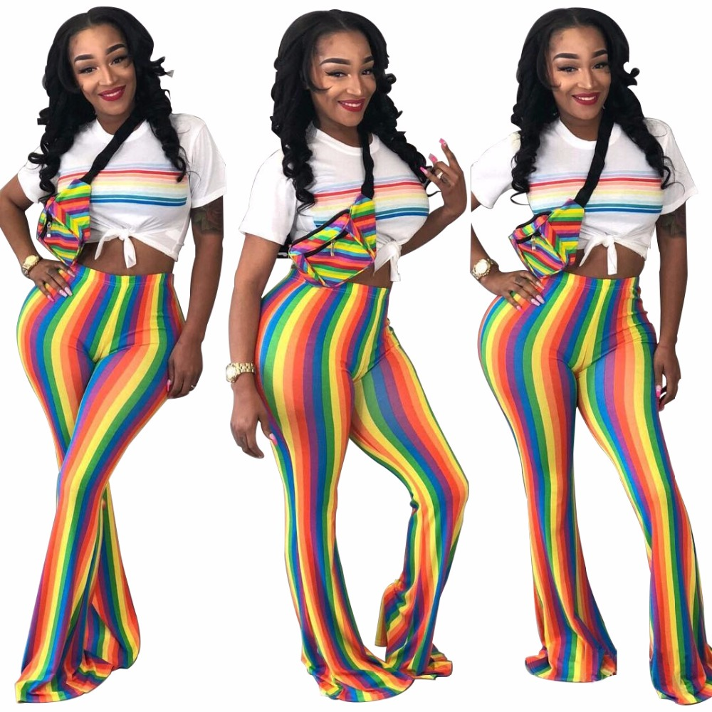 New 2018 Rainbow Stripes Women   Pants   Casual Skinny High Waist Sexy   Wide     Leg     Pants