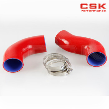 RED INTERCOOLER PIPE SILICONE HOSE FOR BMW 335 E90 TWIN TURBO SILICONE HOSE image