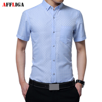 AFFLIGA Men New Solid Large Size Shirt Men Slim Business Long Sleeve 4 Colors M 5XL