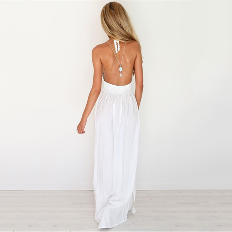 73126c1250501 New Summer High Quality Crochet Plunge Hollow Out Sheer White Halter  Backless Long Maxi Dress Casual Beach Strappy Party Dresses-in Dresses from  Women's ...