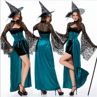 Pretty Nifty And Dark Blue Witch Halloween Costumes For WomenCosplaySexyHalloween Adult Costume Fancy Dress Clubwear