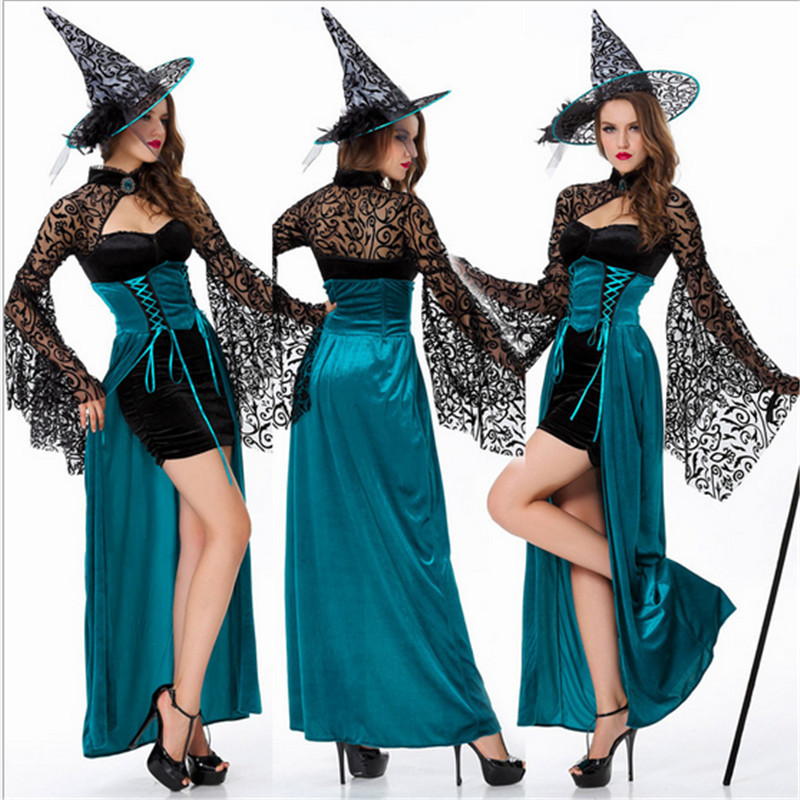 Blue witch halloween costumes for women nifty dark Women Cosplay Sexy Halloween Adult Costume Fancy Dress Club wear Party Wear