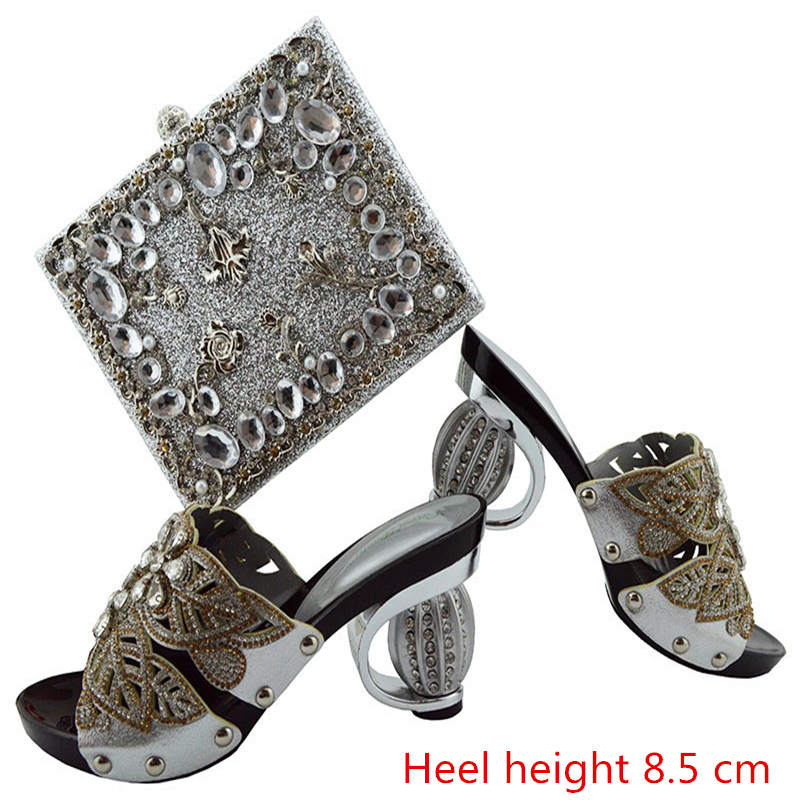 GL04 Silver High Quality Gold Rhinestone Bridal Wedding Evening Shoes And Bag Set Fashionable Dress Shoes And Bags For Party 2 piece heavy silver wedding cake server set knife silverplated bridal gift box
