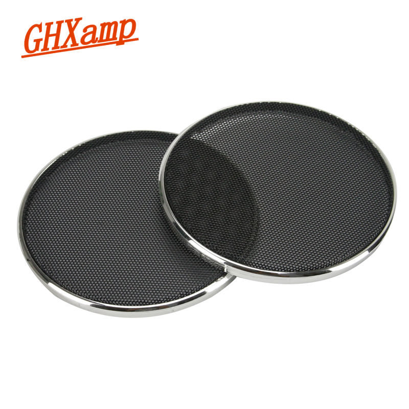 GHXAPM 2PCS 4 Inch Tweeter Speaker Grill Mesh Enclosure Netting Protective Cover DIY Electroplated Silver