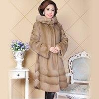 Натуральный мех норки пальто Для женщин Китай с длинным рукавом с капюшоном российского природного норки пальто с большим капюшоном дамы н...