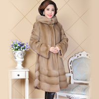 Real Mink Fur Coat Women China Long Sleeve Hooded Natural Russian Mink Coats with Big Hood Ladies Genuine Fur Plus Size 5XL 6XL