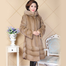 Real Mink Fur Coat Women China Long Sleeve Hooded Natural Russian Mink Coats with Big Hood Ladies Genuine Fur Plus Size 5XL 6XL(China)