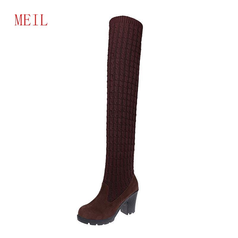 Women Over The Knee Boots Suede Knitting Thigh Bands Ladies Block Heel Shoes Fashion Slim Round Toe Botas Elasticadas De Mujer in Over the Knee Boots from Shoes