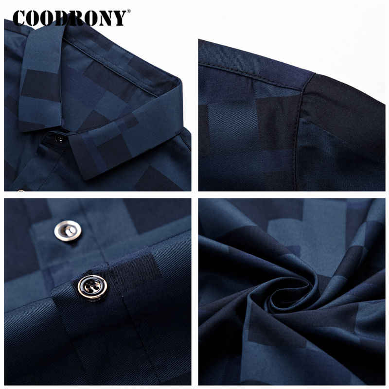 COODRONY 半袖シャツ男性服 2019 夏メンズシャツカジュアルスリムフィットチェック柄カミーサ Masculina シュミーズオム 8701