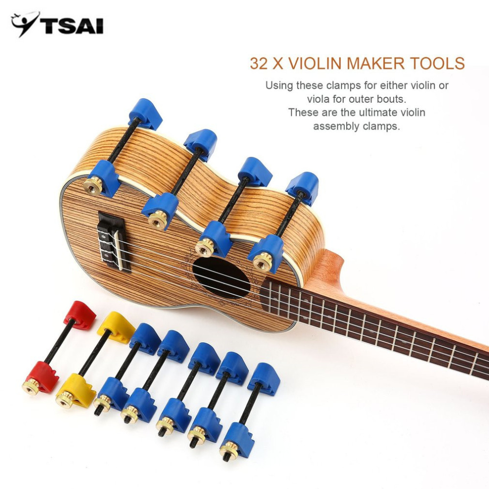 TSAI Professional Violin Maker Tools 32pcs Violin Clamps Fix Top and Back Repair Gluing Tools Strong Luthier Tool New handmade new solid maple wood brown acoustic violin violino 4 4 electric violin case bow included