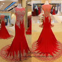 שמלות אדומות לנשף אלגנטיים ארוך 2015 תחרה זהב חרוזים משפט רכבת בת ים שמלות הערב abendkleider vestidos דה גאלה