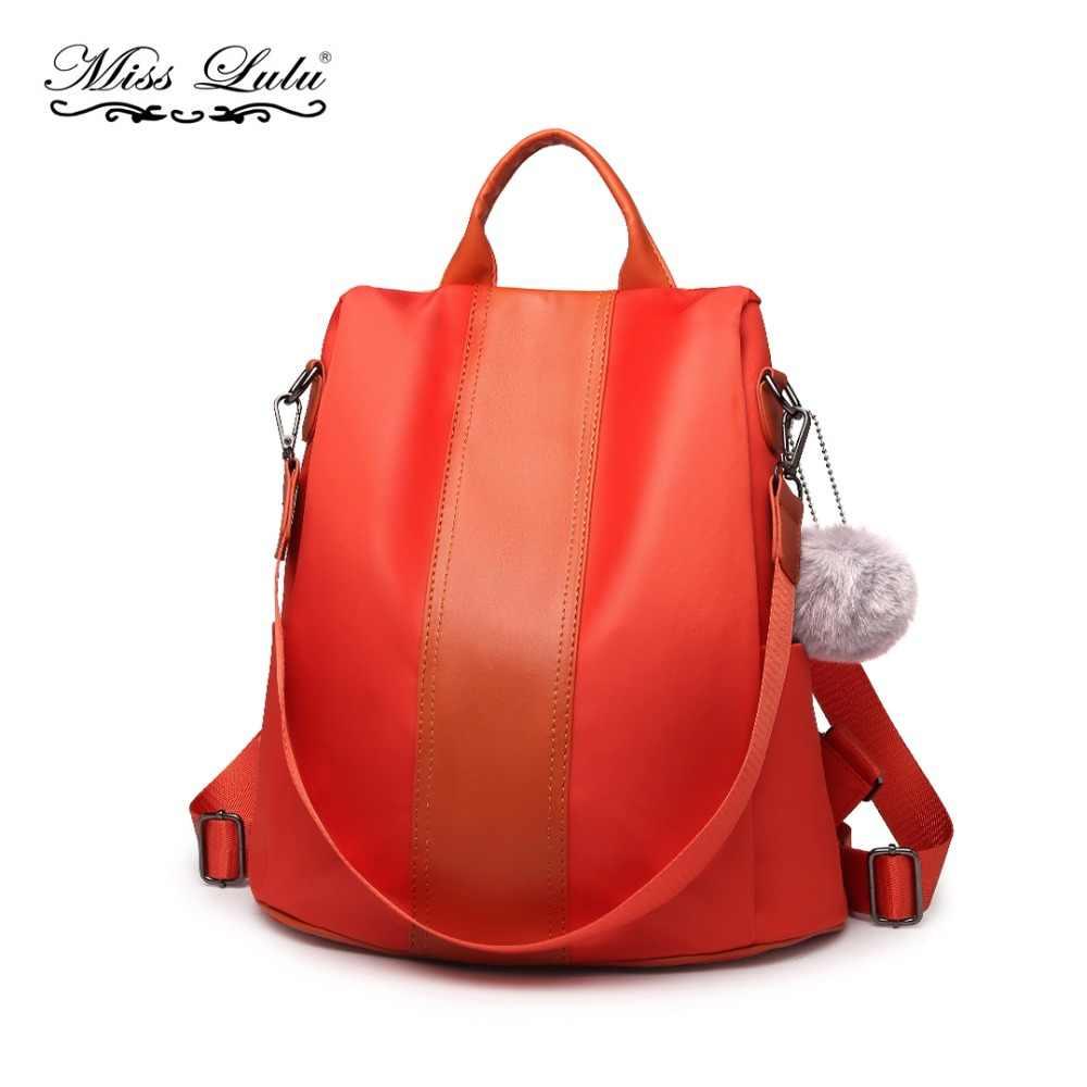 Miss Lulu Women Backpacks Girls School Bags Waterproof Anti-theft Daypack  Ladies Orange Rucksack Fur f9abe05a5408