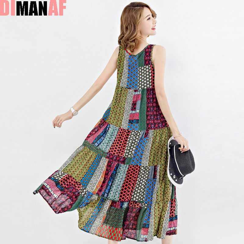b6e7a87c187 DIMANAF Women Summer Style Dress Sleeveless Patchwork Holiday Hawaiian  Beach Female Casual Draped Vintage Sundress Fashion Dress-in Dresses from  Women s ...
