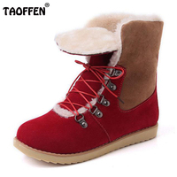 TAOFFEN Size 34 43 Warm Winter Shoes Women Thick Fur Plush Insdie Snow Ankle Boots For