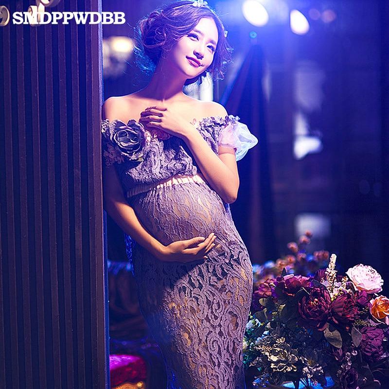 SMDPPWDBB Pregnant Women Lace Dresses Maternity Photography Fancy Props Dresses Maternity Photo Shooting Crochet Lace Dresses