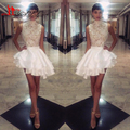 2016 Michael Costello Short Dress High Neck Lace Satin Cocktail Party Gowns Tiers Ruffles Asymmetrical Mini Prom Celebrity Gowns