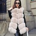 Novas senhoras genuíno Real natural fox fur Vest gilet mulheres da moda casaco de pele de raposa casaco de pele do inverno casaco outerwear