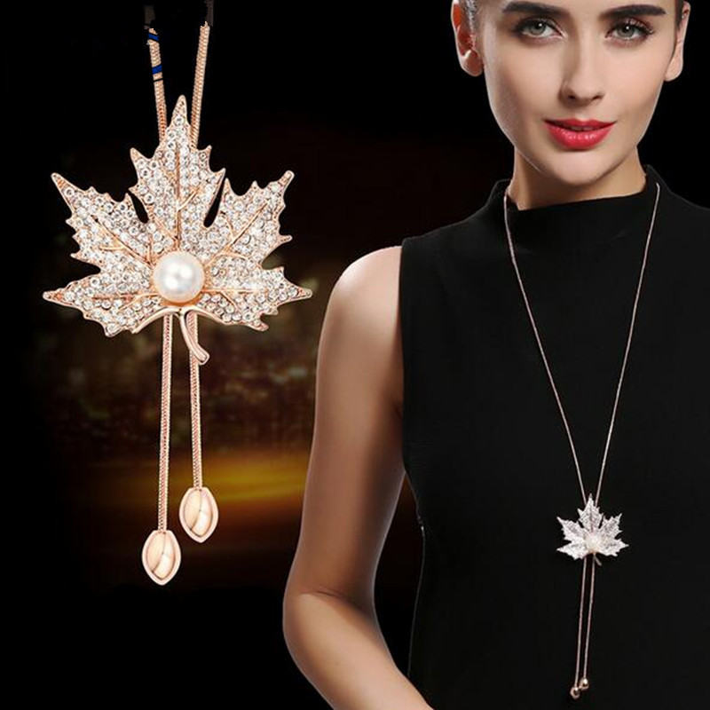 BYSPT Maple Leaves Cute Simulated-pearl Long Sweater Chain Necklace Vintage Accessary Crystal Collares Mujer Statement Necklace