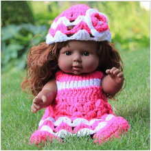 30CM African Black Reborn Vinyl Baby Dolls Kids Cheap Toys Gifts Pink Dress Curly Hair Realistic