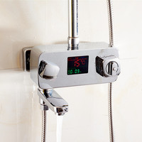 Thermostat dusche wasserhahn mischbatterie mit display Bad digitalen thermostat duscharmatur thermostatischer duschpaneel-in Dusch-Armaturen aus Heimwerkerbedarf bei