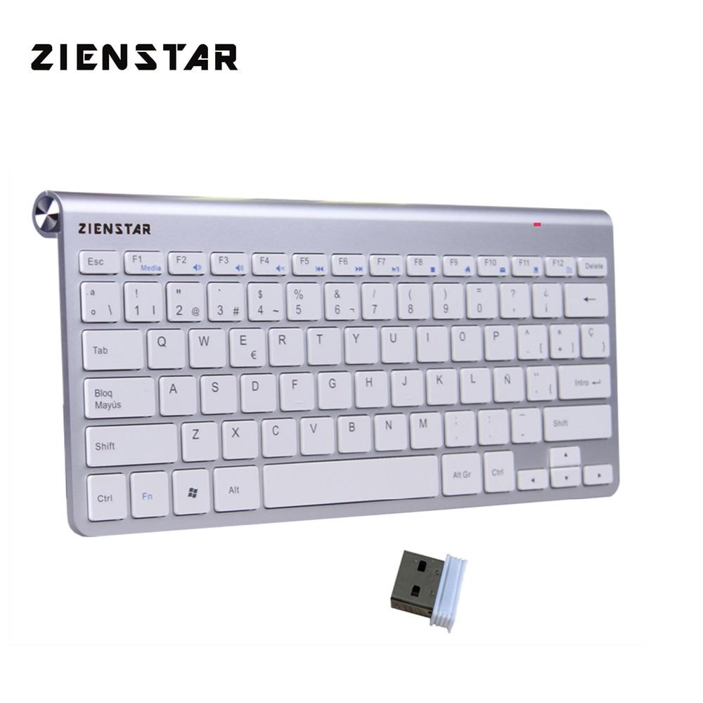 Zienstar Spanish Language Ultra Slim 2.4G Wireless Teclado For Macbook/PC Computer/Laptop / Smart TV With USB Receiver