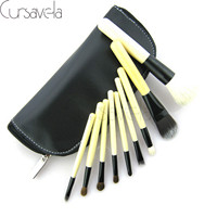 9pcs Makeup Brushes Set Goat Hair Professional Brown Makeup Brush Foundation Powder Blush Eyeliner Brushes With