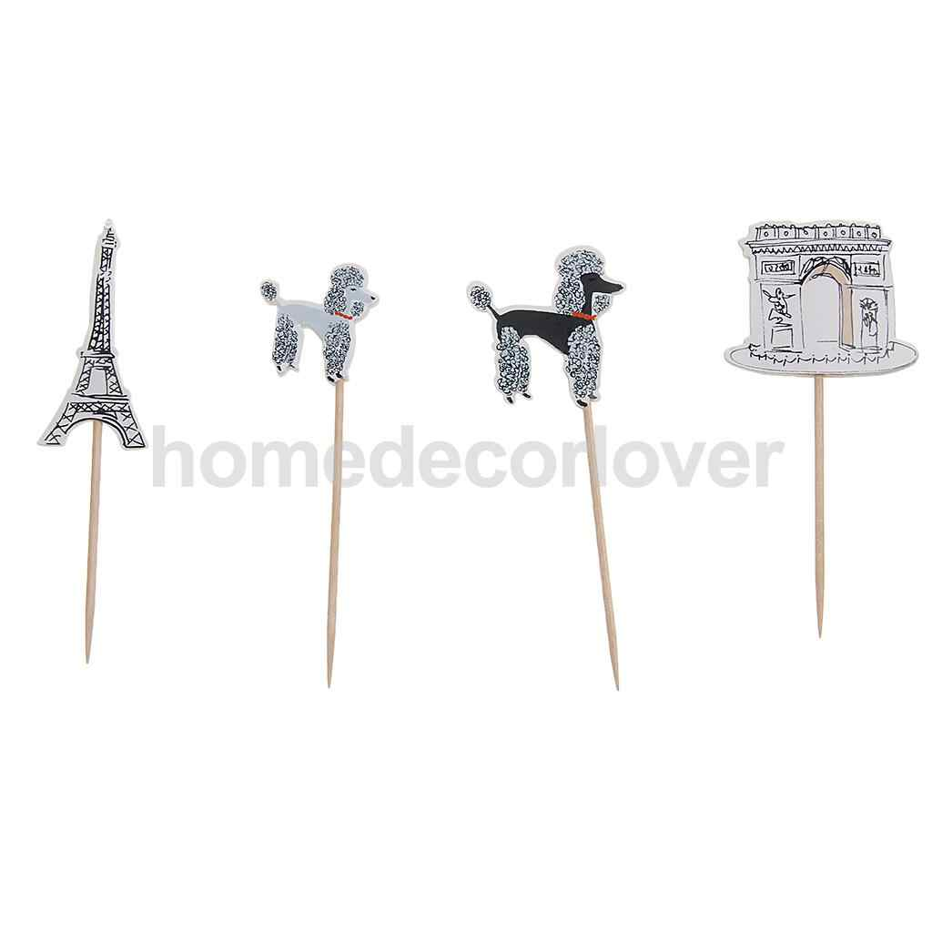24pcs Cake Inserted Card Topper Pick Paris Architecture Birthday Party Decor Baking Supplies
