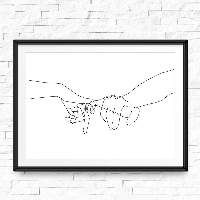 Pinky Swear Continuous One Lines Drawing Wall Art Canvas Poster Prints Minimalist Couple Painting Black White Picture Home Decor