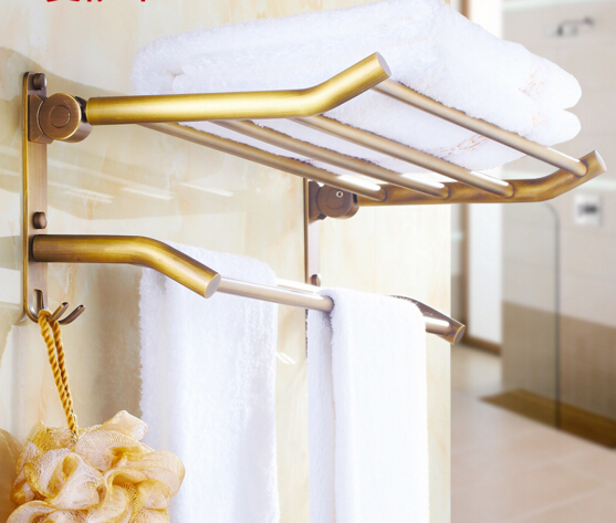 High Quality Antique Fixed Bath Towel Holder Brass FodableTowel Rack Holder for Hotel or Home Bathroom Storage Rack Rail Shelf 2016 high quality brass and jade bathroom towel rack gold towel holder hotel home bathroom storage rack rail shelf towel rail